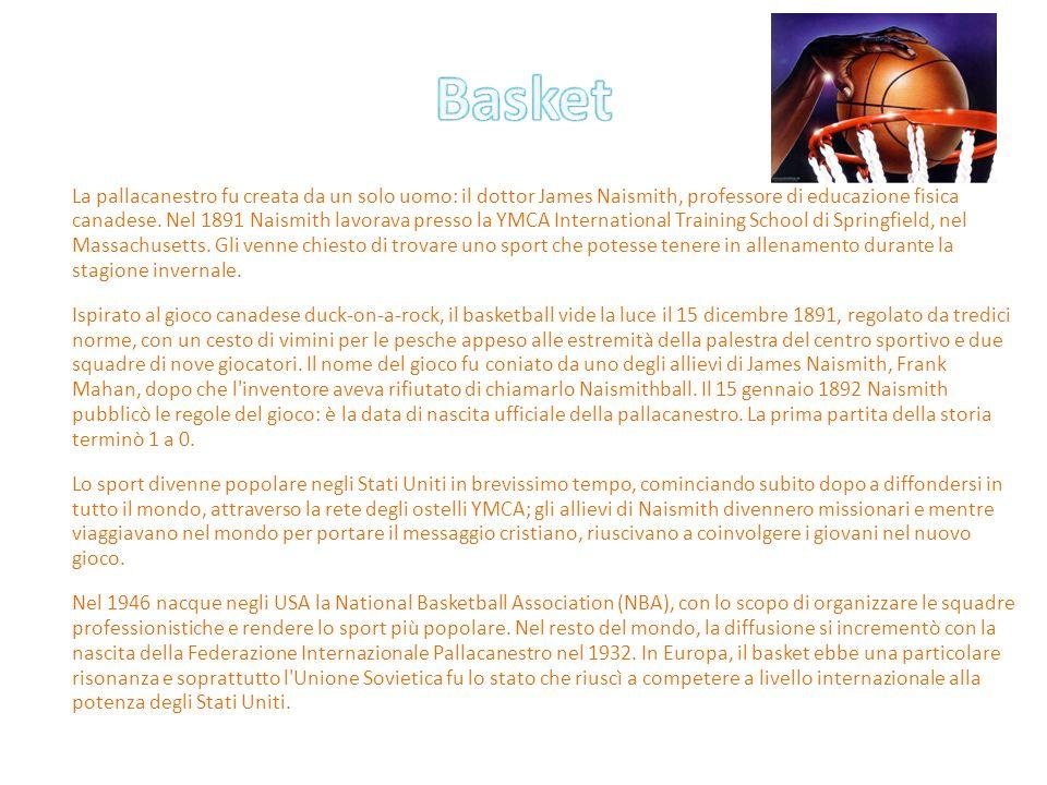 La pallacanestro fu creata da un solo uomo: il dottor James Naismith, professore di educazione fisica canadese. Nel 1891 Naismith lavorava presso la Y