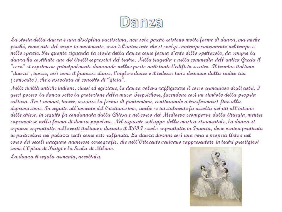 La storia della danza è una disciplina vastissima, non solo perché esistono molte forme di danza, ma anche perché, come arte del corpo in movimento, e