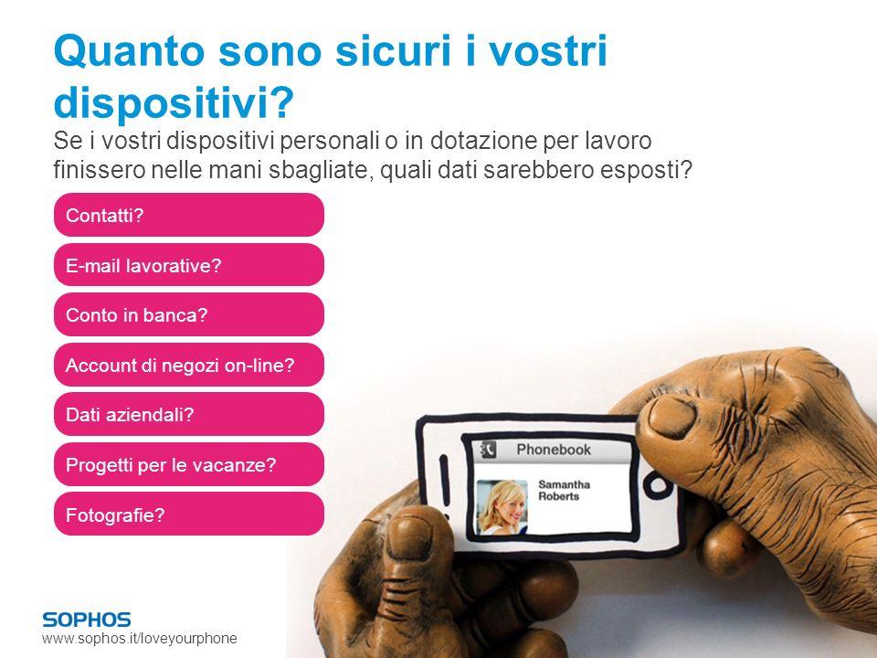 www.sophos.it/loveyourphone Generale mancanza di consapevolezza 89% non sa che gli smartphone possono trasmettere informazioni riservate sul pagamento (ad es.