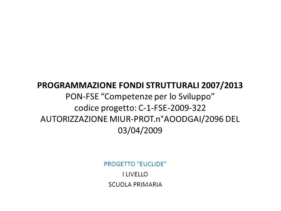 PROGRAMMAZIONE FONDI STRUTTURALI 2007/2013 PON-FSE Competenze per lo Sviluppo codice progetto: C-1-FSE-2009-322 AUTORIZZAZIONE MIUR-PROT.n°AOODGAI/2096 DEL 03/04/2009 PROGETTO EUCLIDE I LIVELLO SCUOLA PRIMARIA