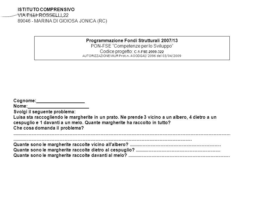 Programmazione Fondi Strutturali 2007/13 PON-FSE Competenze per lo Sviluppo Codice progetto: C-1-FSE-2009-322 AUTORIZZAZIONE MIUR Prot.n.
