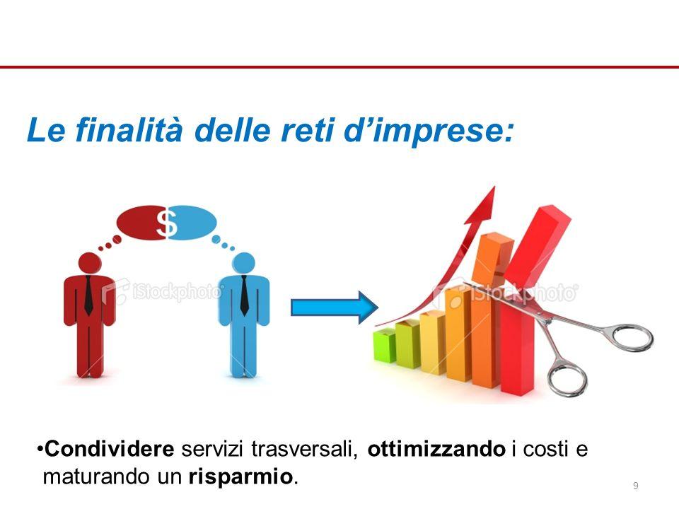 Le finalità delle reti dimprese: Condividere servizi trasversali, ottimizzando i costi e maturando un risparmio.