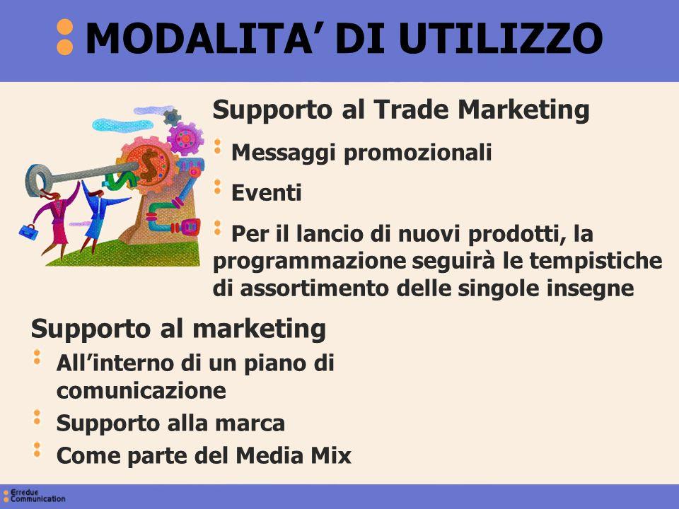 Supporto al Trade Marketing Messaggi promozionali Eventi Per il lancio di nuovi prodotti, la programmazione seguirà le tempistiche di assortimento del