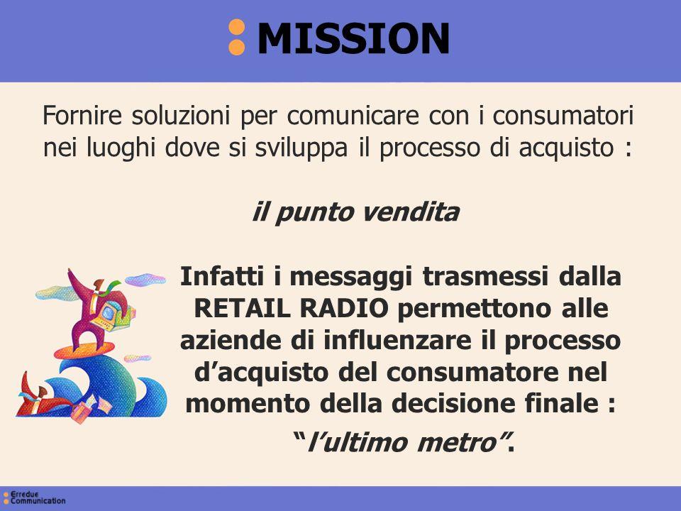 Fornire soluzioni per comunicare con i consumatori nei luoghi dove si sviluppa il processo di acquisto : MISSION Infatti i messaggi trasmessi dalla RE