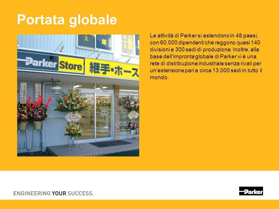 Portata globale Le attività di Parker si estendono in 48 paesi, con 60.000 dipendenti che reggono quasi 140 divisioni e 300 sedi di produzione.