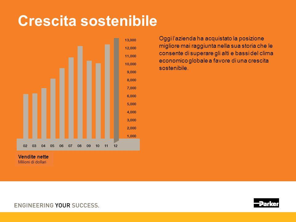 Crescita sostenibile Oggi lazienda ha acquistato la posizione migliore mai raggiunta nella sua storia che le consente di superare gli alti e bassi del clima economico globale a favore di una crescita sostenibile.