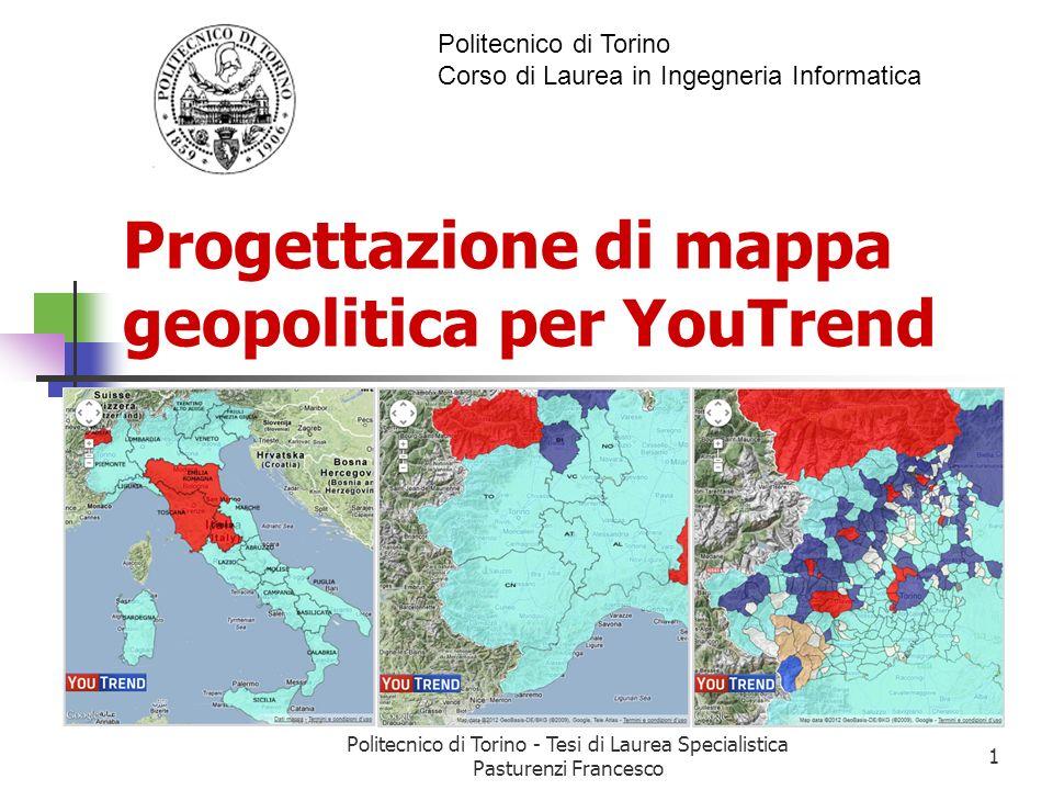 Creazione degli overlay con Google Maps Le coordinate delle regioni, province e comuni per la creazione degli overlay(poligoni) sono state trovate in rete in formato KML.