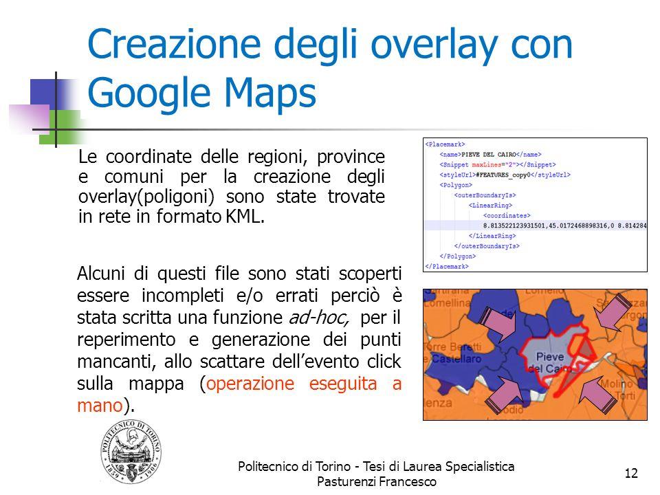 Creazione degli overlay con Google Maps Le coordinate delle regioni, province e comuni per la creazione degli overlay(poligoni) sono state trovate in