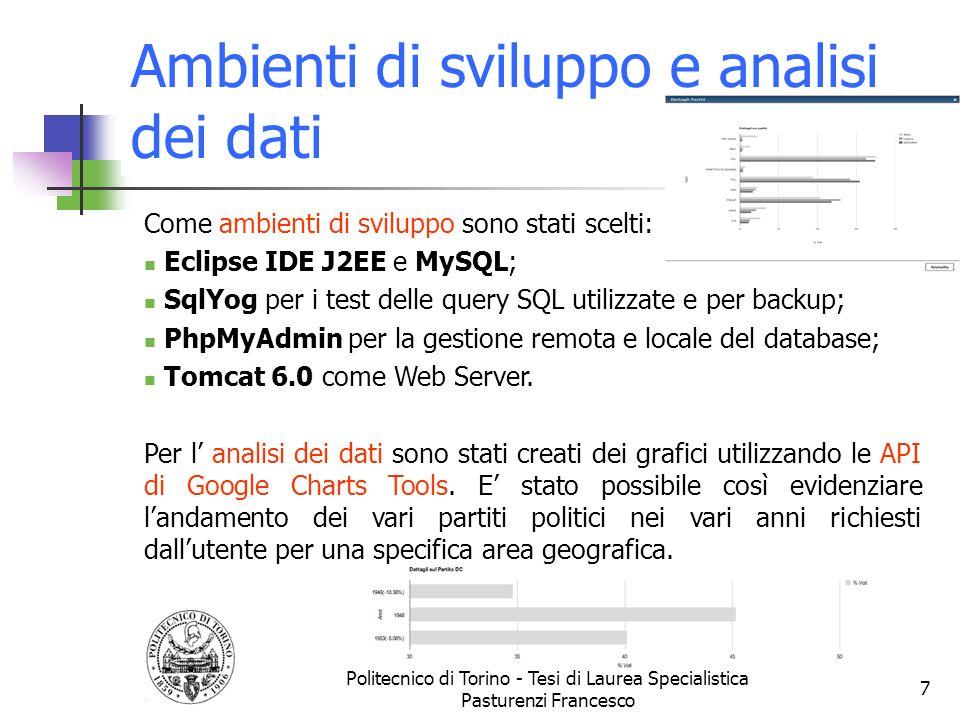 Ambienti di sviluppo e analisi dei dati Politecnico di Torino - Tesi di Laurea Specialistica Pasturenzi Francesco 7 Come ambienti di sviluppo sono sta