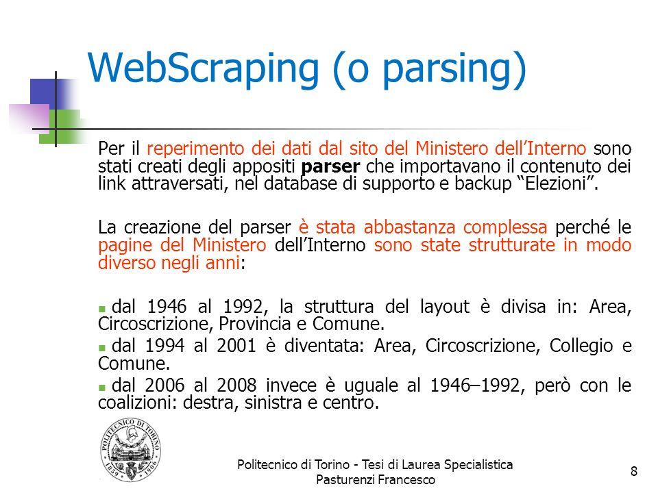 WebScraping (o parsing) Per il reperimento dei dati dal sito del Ministero dellInterno sono stati creati degli appositi parser che importavano il cont