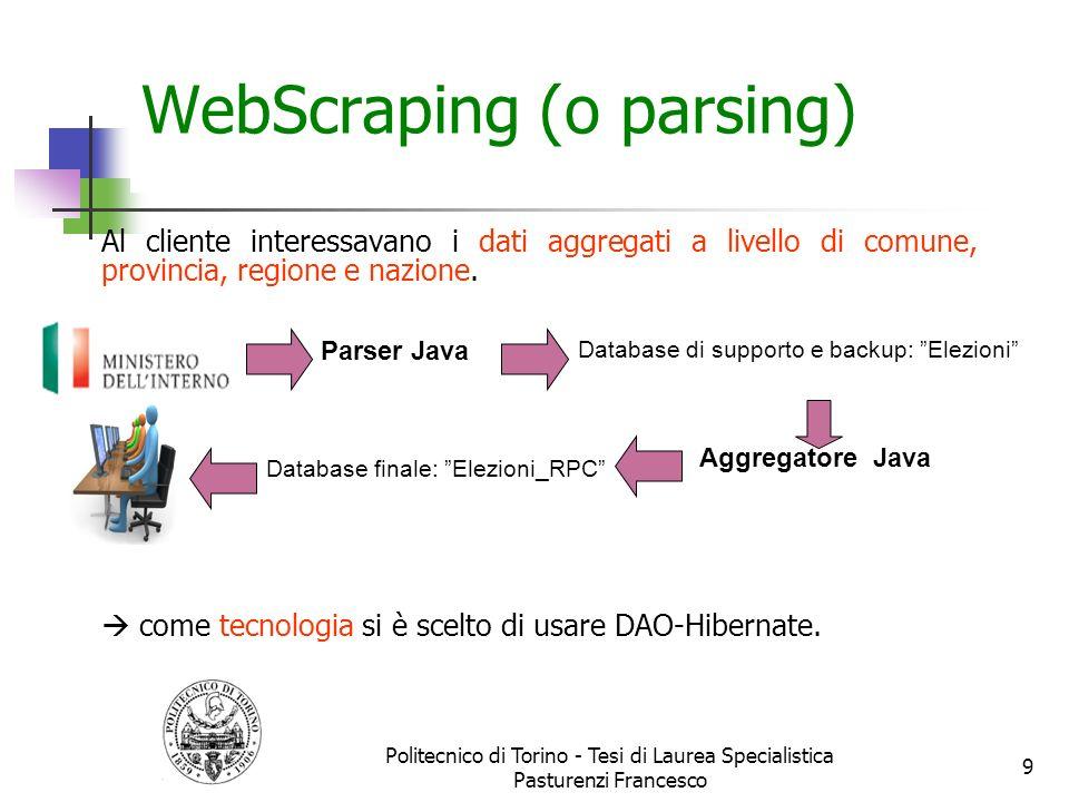 WebScraping (o parsing) Al cliente interessavano i dati aggregati a livello di comune, provincia, regione e nazione. come tecnologia si è scelto di us