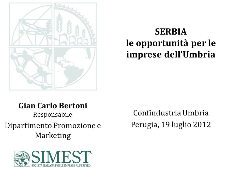 Gian Carlo Bertoni Responsabile Dipartimento Promozione e Marketing SERBIA le opportunità per le imprese dellUmbria Confindustria Umbria Perugia, 19 luglio 2012