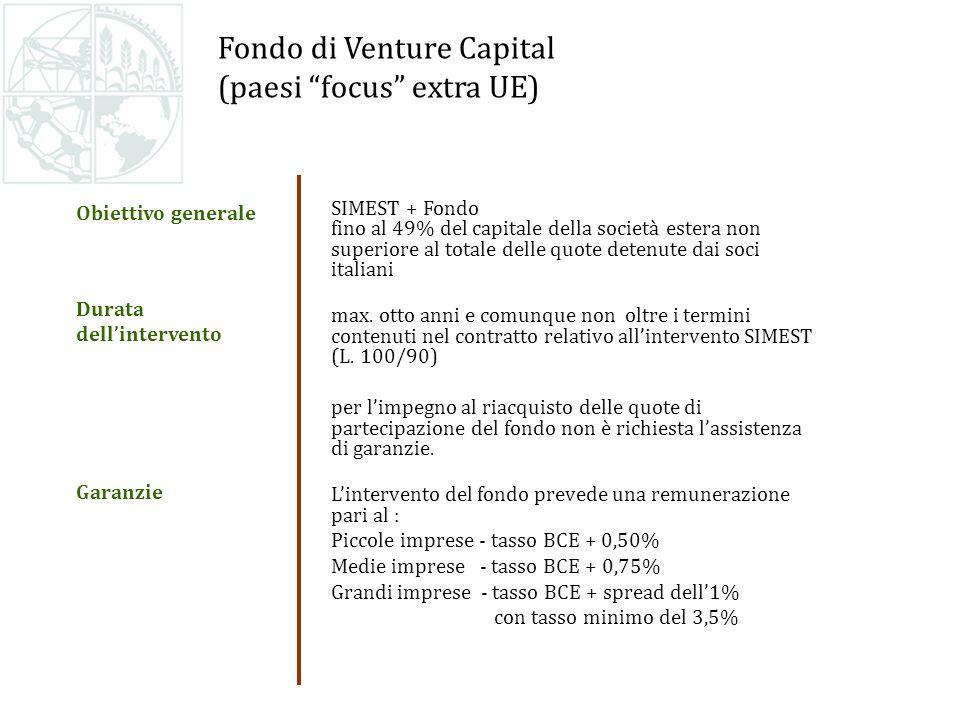 Fondo di Venture Capital (paesi focus extra UE) SIMEST + Fondo fino al 49% del capitale della società estera non superiore al totale delle quote detenute dai soci italiani max.