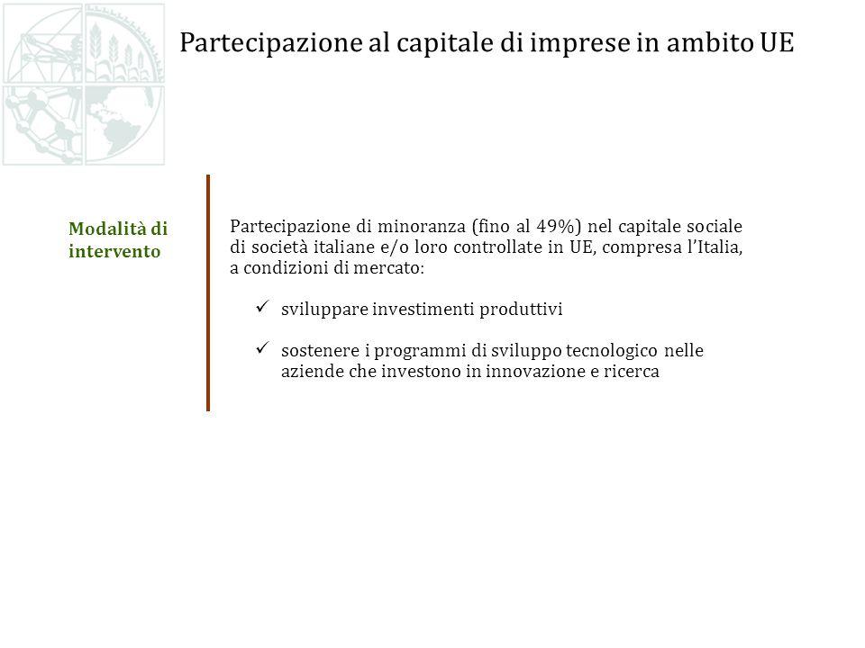 Partecipazione al capitale di imprese in ambito UE Partecipazione di minoranza (fino al 49%) nel capitale sociale di società italiane e/o loro controllate in UE, compresa lItalia, a condizioni di mercato: sviluppare investimenti produttivi sostenere i programmi di sviluppo tecnologico nelle aziende che investono in innovazione e ricerca Modalità di intervento