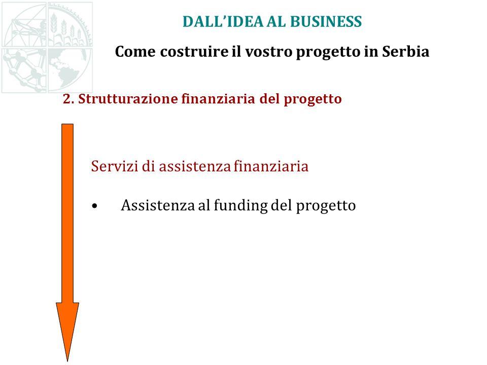 2. Strutturazione finanziaria del progetto Servizi di assistenza finanziaria Assistenza al funding del progetto DALLIDEA AL BUSINESS Come costruire il