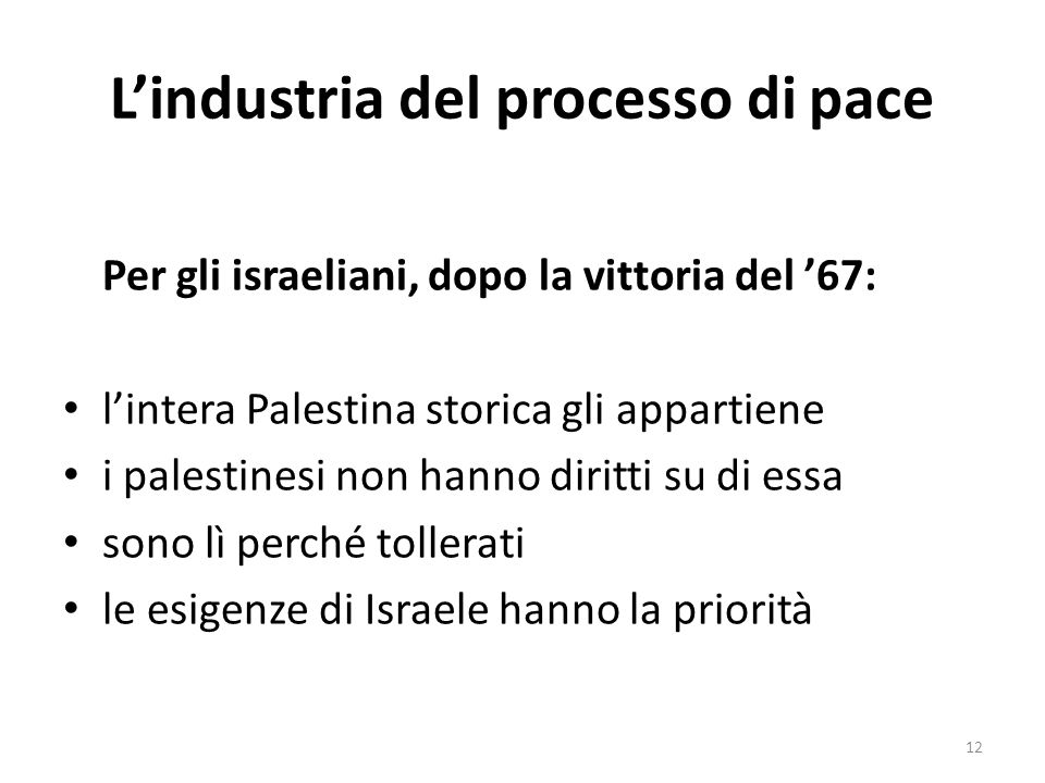 Lindustria del processo di pace Per gli israeliani, dopo la vittoria del 67: lintera Palestina storica gli appartiene i palestinesi non hanno diritti su di essa sono lì perché tollerati le esigenze di Israele hanno la priorità 12