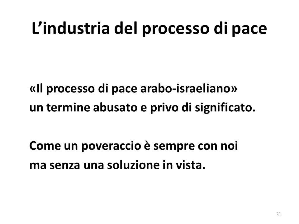 Lindustria del processo di pace «Il processo di pace arabo-israeliano» un termine abusato e privo di significato.