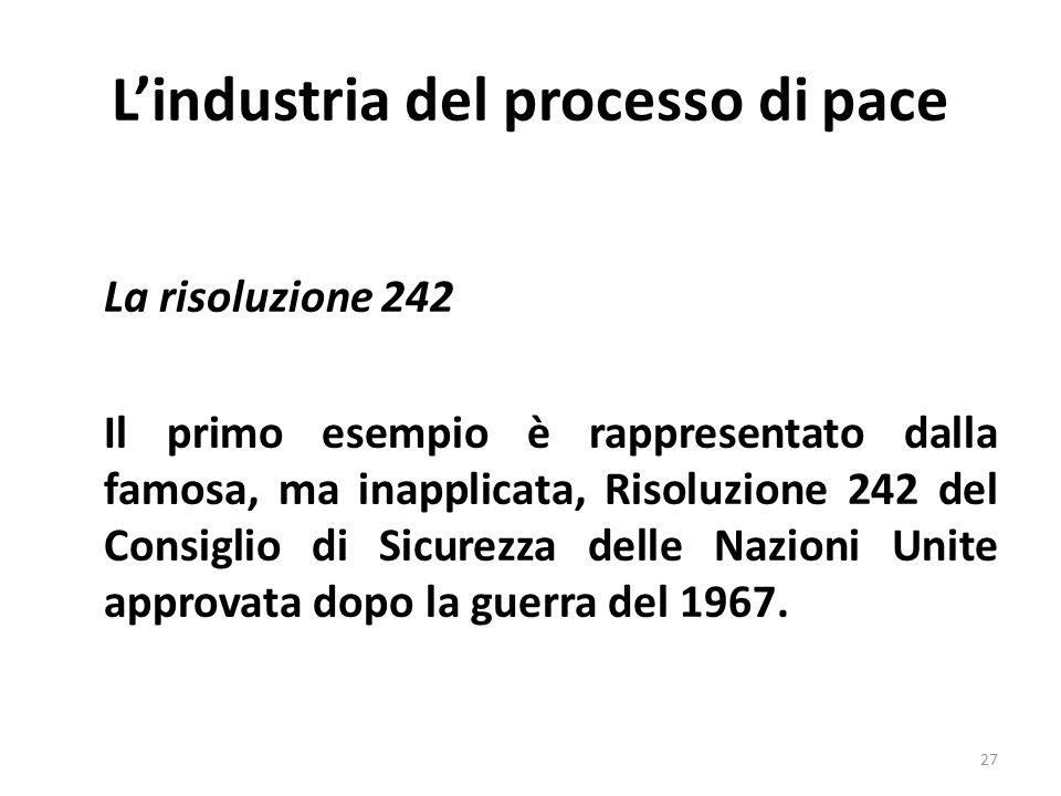 Lindustria del processo di pace La risoluzione 242 Il primo esempio è rappresentato dalla famosa, ma inapplicata, Risoluzione 242 del Consiglio di Sicurezza delle Nazioni Unite approvata dopo la guerra del 1967.