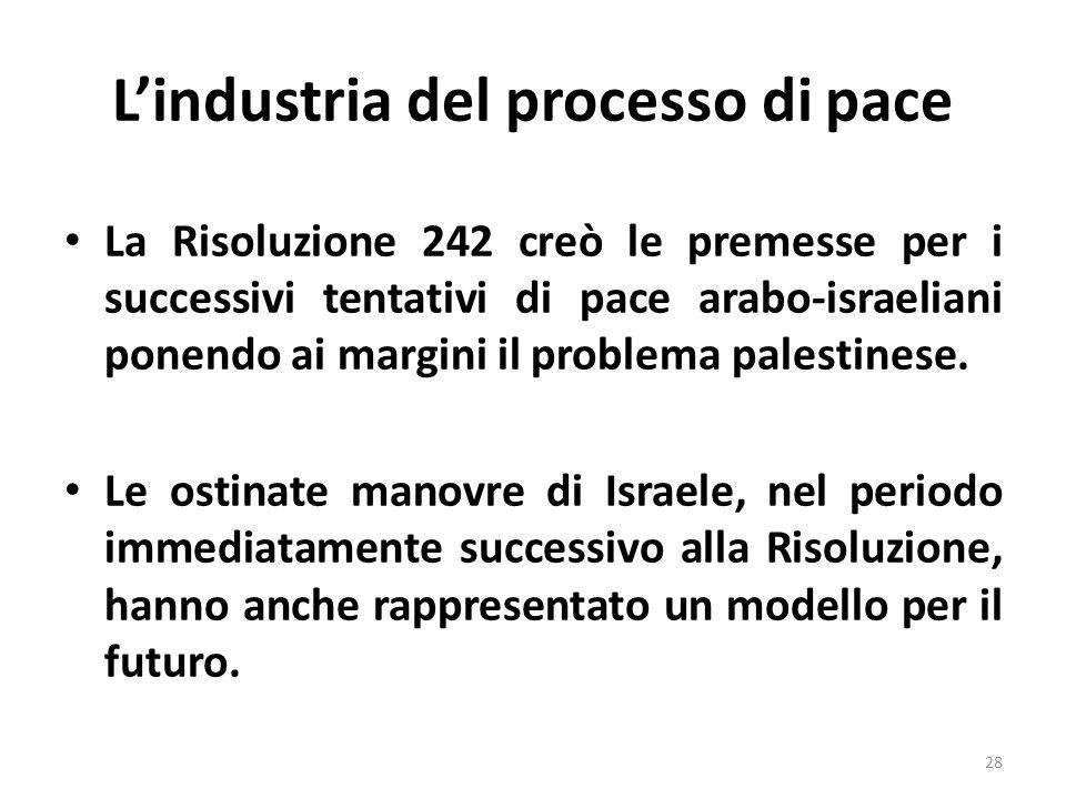 Lindustria del processo di pace La Risoluzione 242 creò le premesse per i successivi tentativi di pace arabo-israeliani ponendo ai margini il problema palestinese.