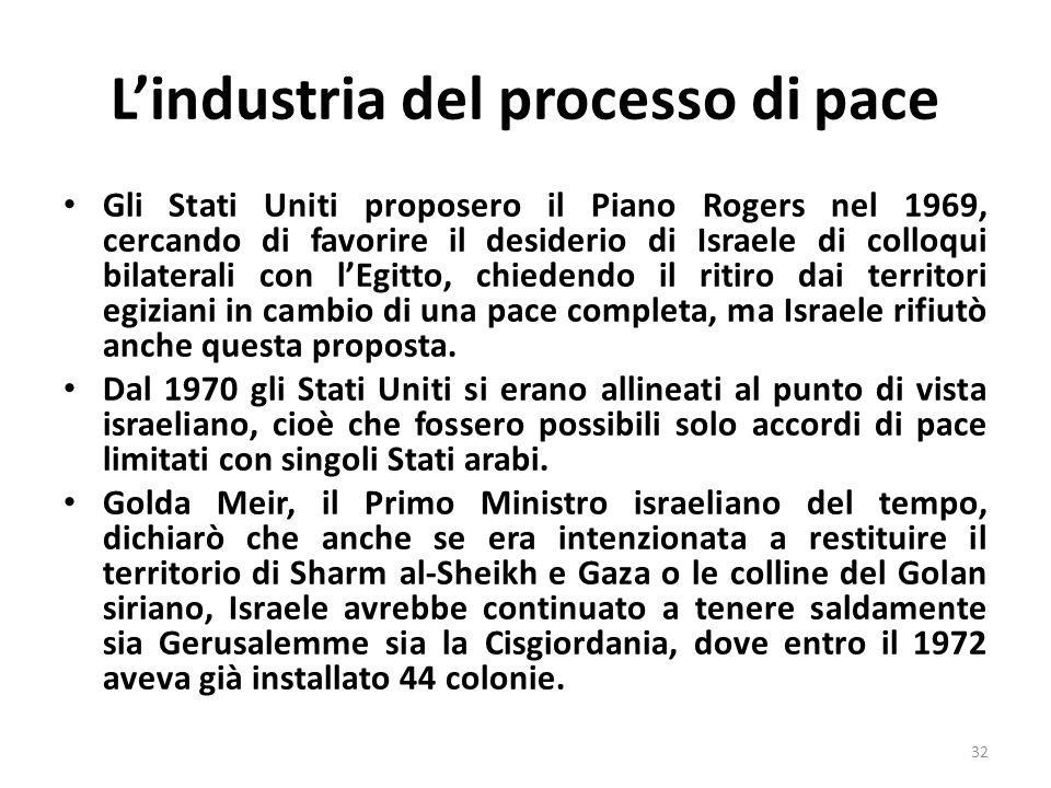 Lindustria del processo di pace Gli Stati Uniti proposero il Piano Rogers nel 1969, cercando di favorire il desiderio di Israele di colloqui bilaterali con lEgitto, chiedendo il ritiro dai territori egiziani in cambio di una pace completa, ma Israele rifiutò anche questa proposta.