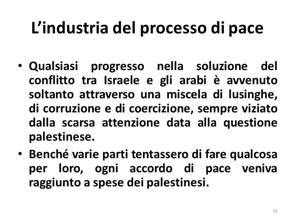 Lindustria del processo di pace Qualsiasi progresso nella soluzione del conflitto tra Israele e gli arabi è avvenuto soltanto attraverso una miscela d
