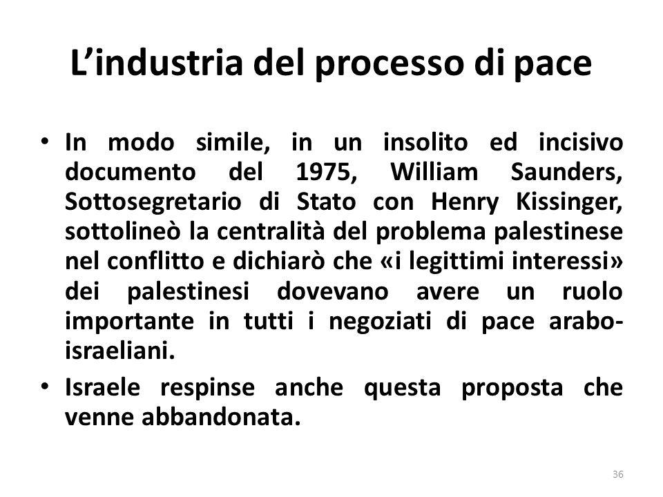 Lindustria del processo di pace In modo simile, in un insolito ed incisivo documento del 1975, William Saunders, Sottosegretario di Stato con Henry Ki