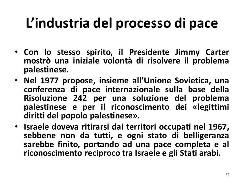 Lindustria del processo di pace Con lo stesso spirito, il Presidente Jimmy Carter mostrò una iniziale volontà di risolvere il problema palestinese. Ne