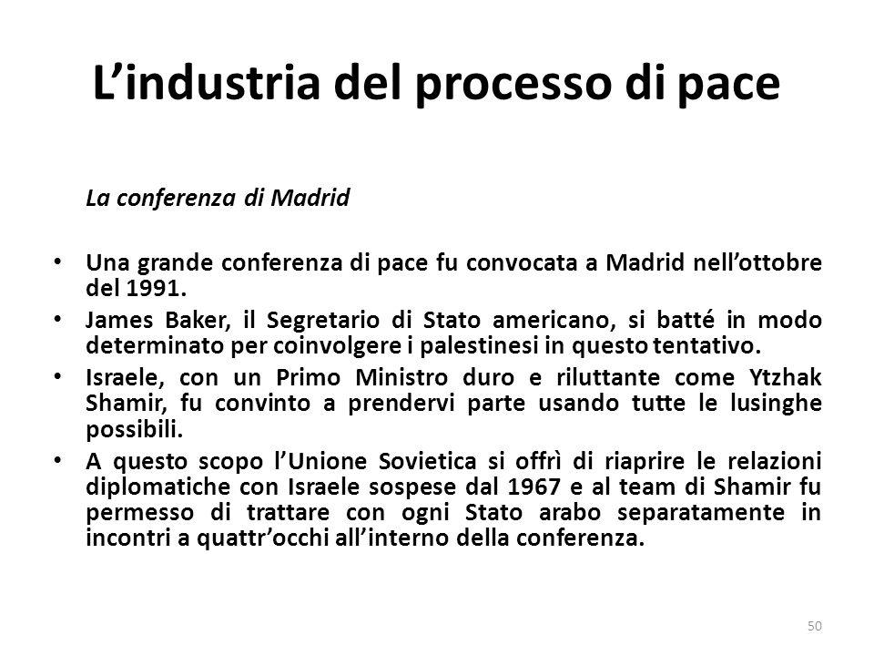 Lindustria del processo di pace La conferenza di Madrid Una grande conferenza di pace fu convocata a Madrid nellottobre del 1991. James Baker, il Segr