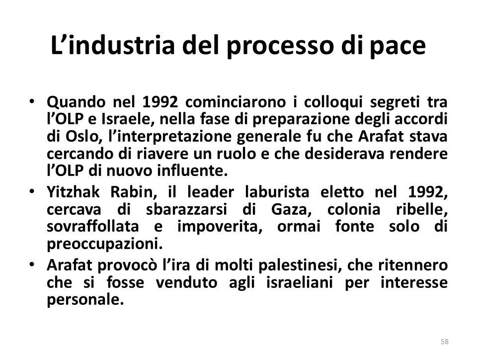 Lindustria del processo di pace Quando nel 1992 cominciarono i colloqui segreti tra lOLP e Israele, nella fase di preparazione degli accordi di Oslo,