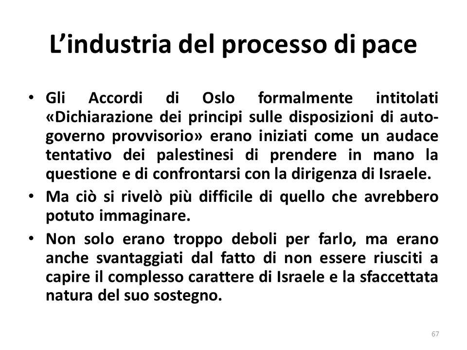 Lindustria del processo di pace Gli Accordi di Oslo formalmente intitolati «Dichiarazione dei principi sulle disposizioni di auto- governo provvisorio