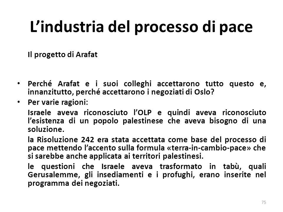 Lindustria del processo di pace Il progetto di Arafat Perché Arafat e i suoi colleghi accettarono tutto questo e, innanzitutto, perché accettarono i n