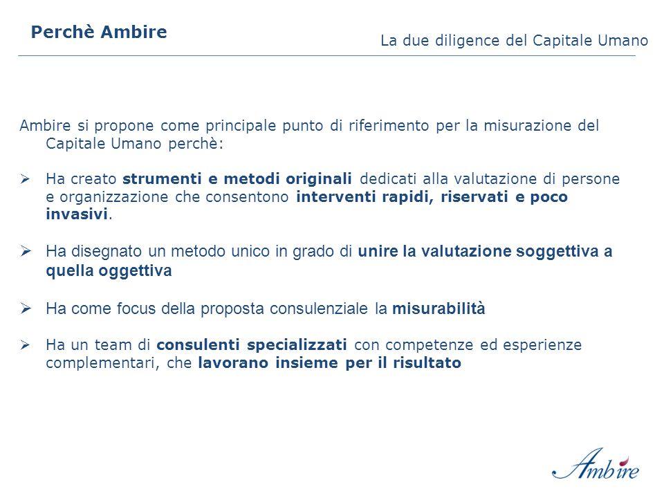 Ambire si propone come principale punto di riferimento per la misurazione del Capitale Umano perchè: Ha creato strumenti e metodi originali dedicati a