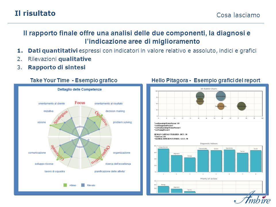 Il risultato Cosa lasciamo Il rapporto finale offre una analisi delle due componenti, la diagnosi e lindicazione aree di miglioramento 1.Dati quantitativi espressi con indicatori in valore relativo e assoluto, indici e grafici 2.