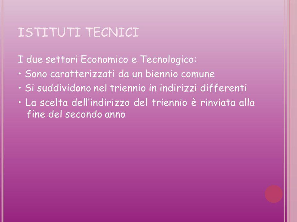 ISTITUTI TECNICI I due settori Economico e Tecnologico: Sono caratterizzati da un biennio comune Si suddividono nel triennio in indirizzi differenti La scelta dellindirizzo del triennio è rinviata alla fine del secondo anno