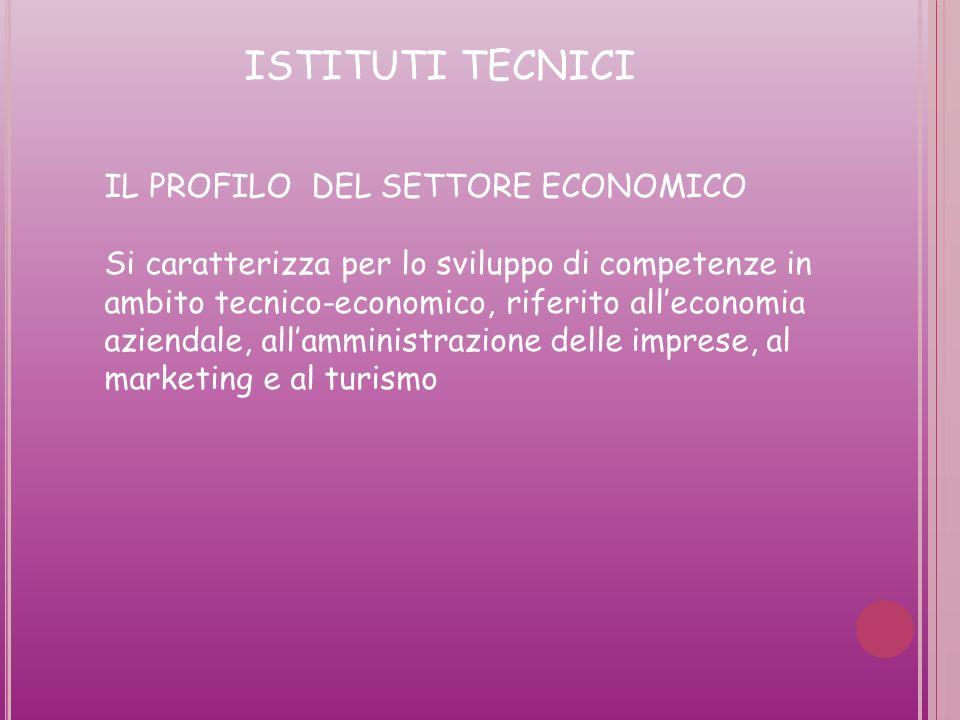 ISTITUTI TECNICI IL PROFILO DEL SETTORE ECONOMICO Si caratterizza per lo sviluppo di competenze in ambito tecnico-economico, riferito alleconomia aziendale, allamministrazione delle imprese, al marketing e al turismo