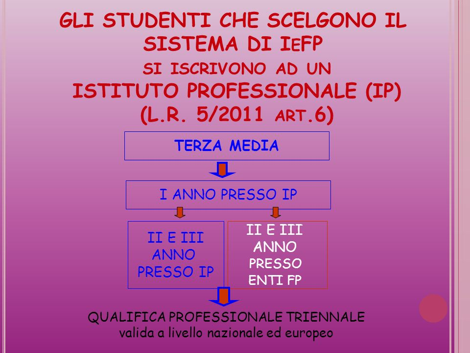 GLI STUDENTI CHE SCELGONO IL SISTEMA DI I E FP SI ISCRIVONO AD UN ISTITUTO PROFESSIONALE (IP) (L.R.