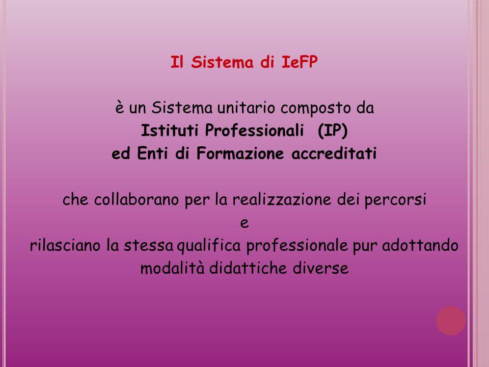 Il Sistema di IeFP è un Sistema unitario composto da Istituti Professionali (IP) ed Enti di Formazione accreditati che collaborano per la realizzazione dei percorsi e rilasciano la stessa qualifica professionale pur adottando modalità didattiche diverse