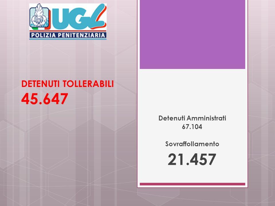 DETENUTI TOLLERABILI 45.647 Detenuti Amministrati 67.104 Sovraffollamento 21.457