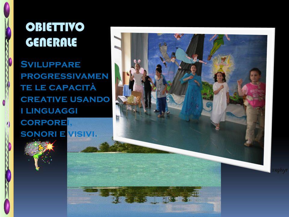 OBIETTIVO GENERALE Sviluppare progressivamen te le capacità creative usando i linguaggi corporei, sonori e visivi.