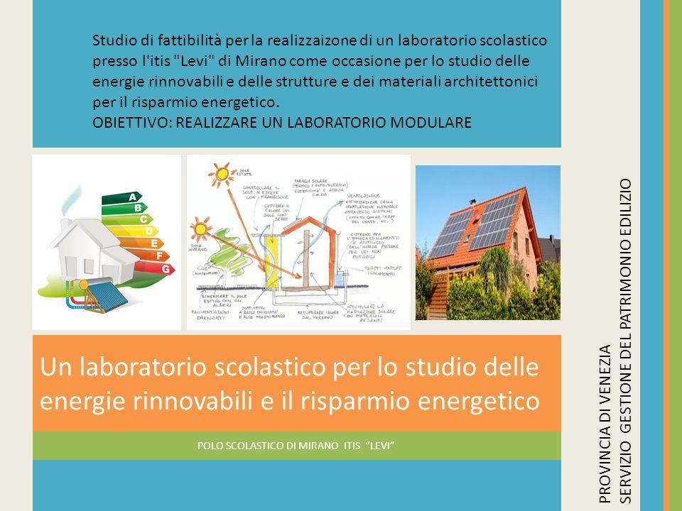 POLO SCOLASTICO DI MIRANO ITIS LEVI Un laboratorio scolastico per lo studio delle energie rinnovabili e il risparmio energetico PROVINCIA DI VENEZIA S