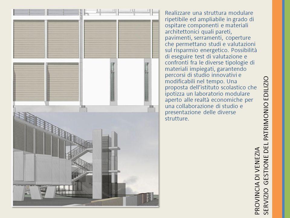 Realizzare una struttura modulare ripetibile ed ampliabile in grado di ospitare componenti e materiali architettonici quali pareti, pavimenti, serrame