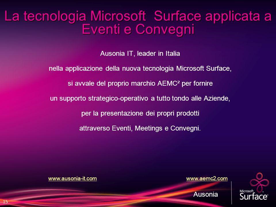 15 La tecnologia Microsoft Surface applicata a Eventi e Convegni Ausonia IT, leader in Italia nella applicazione della nuova tecnologia Microsoft Surf