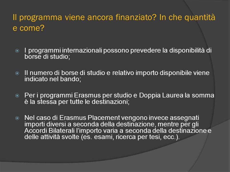 Il programma viene ancora finanziato? In che quantità e come? I programmi internazionali possono prevedere la disponibilità di borse di studio; Il num