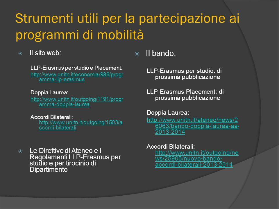 Strumenti utili per la partecipazione ai programmi di mobilità Il sito web: LLP-Erasmus per studio e Placement: http://www.unitn.it/economia/986/progr