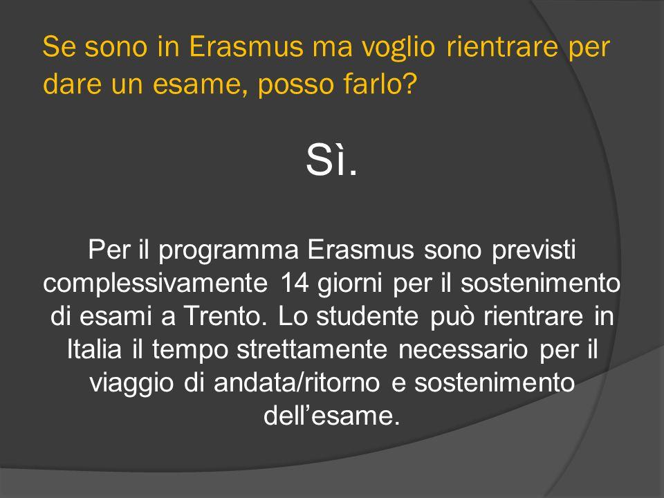 Se sono in Erasmus ma voglio rientrare per dare un esame, posso farlo? Sì. Per il programma Erasmus sono previsti complessivamente 14 giorni per il so