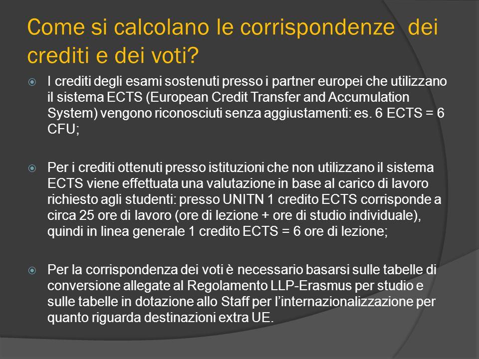 Come si calcolano le corrispondenze dei crediti e dei voti? I crediti degli esami sostenuti presso i partner europei che utilizzano il sistema ECTS (E