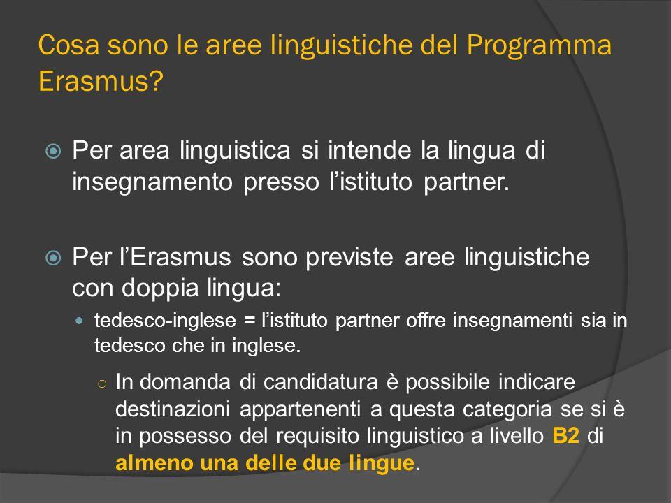 Cosa sono le aree linguistiche del Programma Erasmus? Per area linguistica si intende la lingua di insegnamento presso listituto partner. Per lErasmus