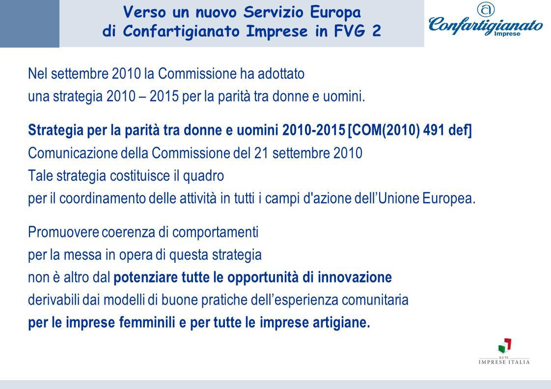 Verso un nuovo Servizio Europa di Confartigianato Imprese in FVG 2 Nel settembre 2010 la Commissione ha adottato una strategia 2010 – 2015 per la parità tra donne e uomini.
