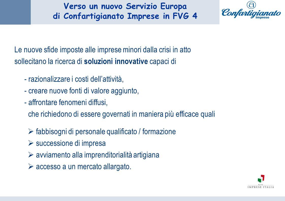 Verso un nuovo Servizio Europa di Confartigianato Imprese in FVG 4 Le nuove sfide imposte alle imprese minori dalla crisi in atto sollecitano la ricer