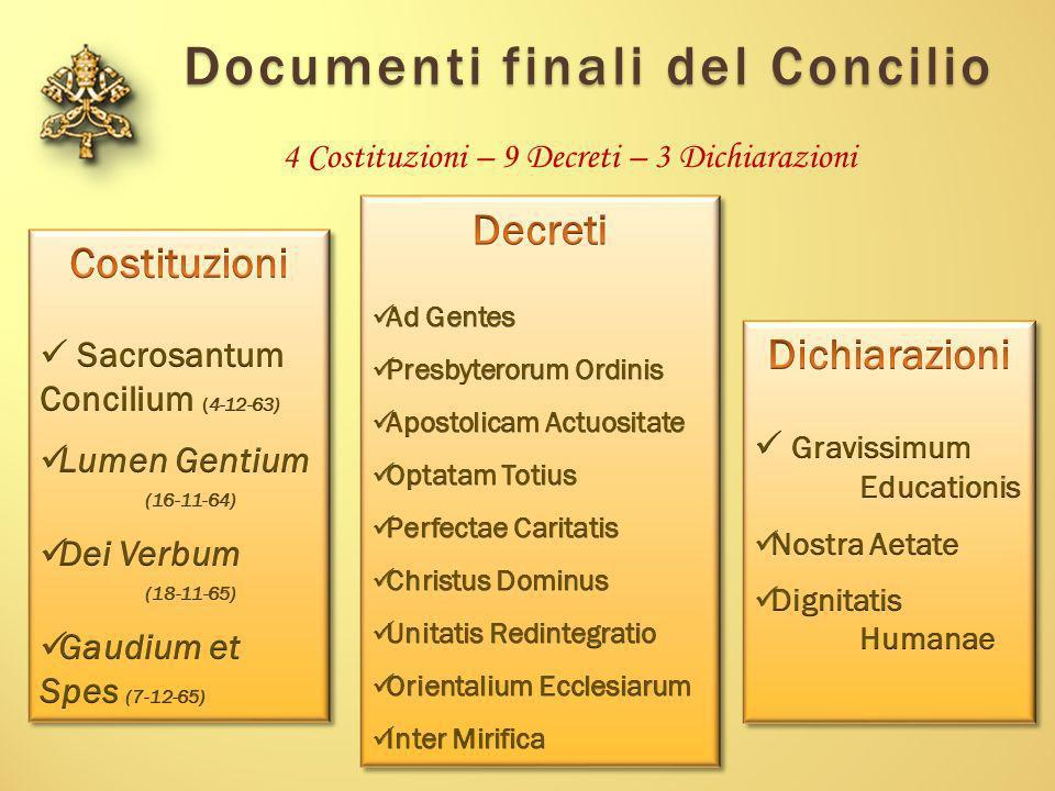 Documenti finali del Concilio 4 Costituzioni – 9 Decreti – 3 Dichiarazioni